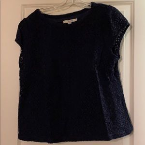 Boden cap sleeve lace overlay blouse, 16